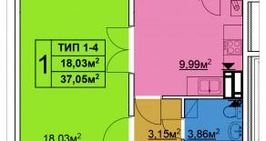 Однокомнатная квартира тип 1-4 — 37,05 м2
