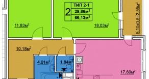 Двухкомнатная квартира тип 2-1  —  66,13 м2