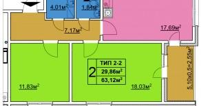Двухкомнатная квартира тип 2-2  —  63,12 м2